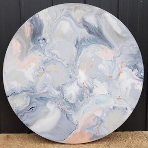 Moon and Back | 91cm Round Painting | by Nicky Kriss