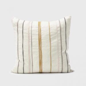 Moro Cushion | White with Multi Coloured Stitching