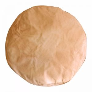 Moroccan Cylinder Leather Ottoman Pouffe Cover | Tan | by Black Mango