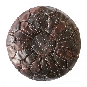 Moroccan Leather Ottoman Pouffe Cover | Chocolate | by Black Mango