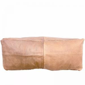 Moroccan Leather Rectangle Ottoman Pouffe Cover | Tan | by Black Mango
