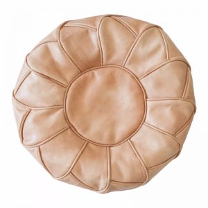Moroccan Petal Leather Ottoman/Pouffe Cover | Tan | by Black Mango