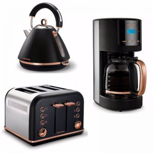 Morphy Richards 1.5L Pyramid Kettle/4 Slice Toaster/1.8L Coffee Maker -Rose Gold