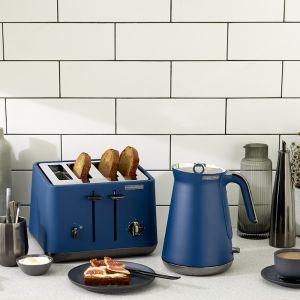 Morphy Richards Aspect | Black Chrome Kettle & Toaster Pack | Deep Blue
