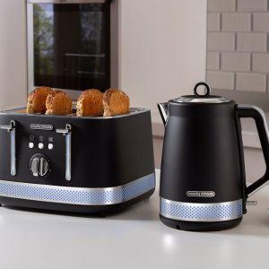 Morphy Richards Illumination | 1.7L Kettle & 4 Slice Bread Toaster | Black