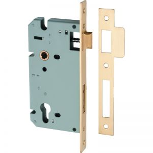 Mortice Lock Euro CTC 85mm Backset 60mm | Satin Brass | Schots