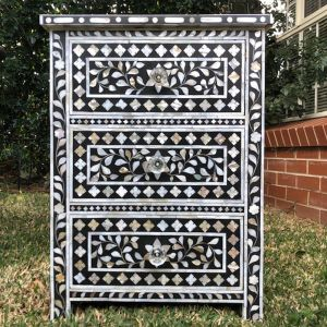 Mother of Pearl Inlay 3 Drawer Bedside Chest in Black