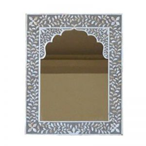 Mother of Pearl Inlay Arch Jarokha Mirror in Grey