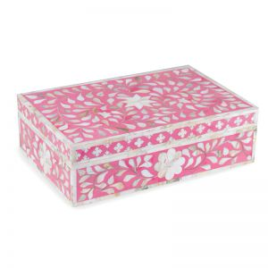 Mother Of Pearl Inlay Box in Floral/Strawberry