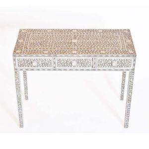 Mother Of Pearl Inlay Console Table in Grey