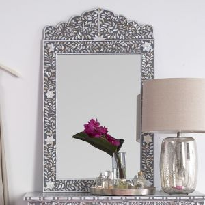 Mother of Pearl Inlay Crested Mirror in Grey