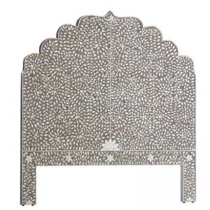 Mother of Pearl Inlay Moghul Bedhead in Grey (Queen Size)