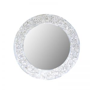 Mother of Pearl Inlay Round Mirror in White