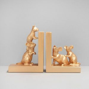 Mouse Bookends | Gold