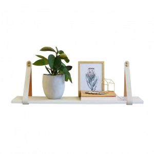 Mushroom Suede Leather Strap Shelf | Linen