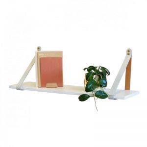 Mushroom Suede Leather Strap Shelf | White