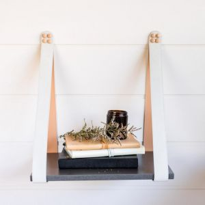 Mushroom Suede Strap Sidetable | Charcoal