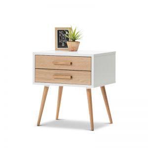 Myst 2 Drawer Bedside Table | White & Oak