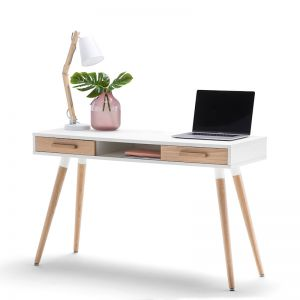 Myst 2 Drawer Office Writing Desk | White & Oak