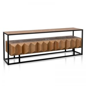 Nadine 1.8m Entertainment TV Unit | Natural with Black Frame