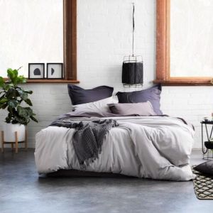 Natal Linen/Cotton Quilt Cover Set | Silver Grey