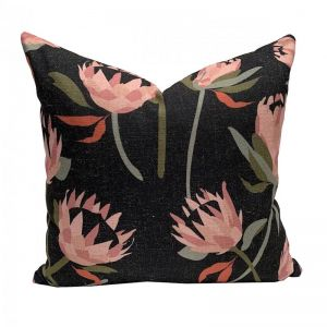 Native Protea Black Cushion | By Tim Neve