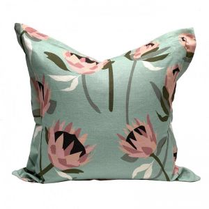 Native Protea Mint Linen Cushion | By Tim Neve