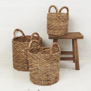 Natural Chevron Waterhyacinth Basket with Seagrass Pattern l Pre Order