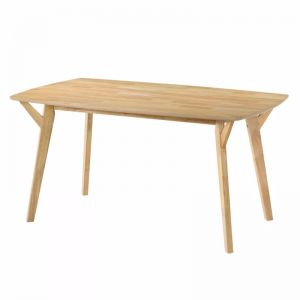 Natural Solid Rubberwood 6 Seater Dining Table