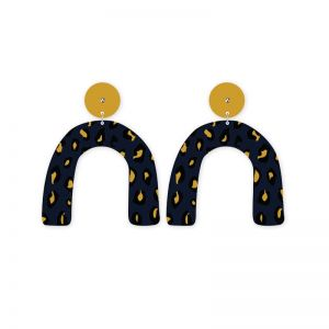 Navy Animal Print | Arch Drop Stud Earrings