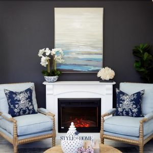 Navy Cliff View | Canvas In Antique Silver Frame