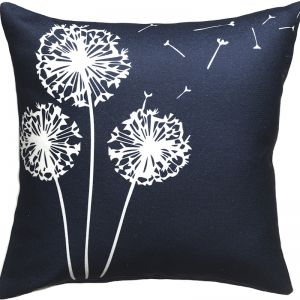 Navy Dandelion Outdoor Cushion | Insert Included