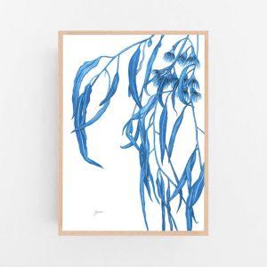 Navy Gum Leaf Fauna 1 by Pick a Pear | Framed Wall Art