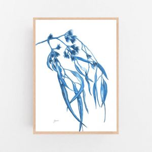 Navy Gum Leaf Fauna 2 by Pick a Pear | Framed Wall Art