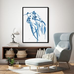 Navy Gum Leaf Fauna 2 Fine Art Print | by Pick a Pear | Framed