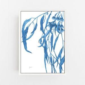 Navy Gum Leaf Flora 1   Canvas Wall Art   by Pick a Pear