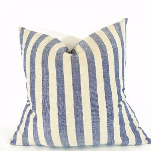 Navy Stripe French Linen Cushion | Heavy Weight
