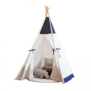 Cattywampus Gold Cloud Teepee Tent with navy blue and metallic gold perfect for boys and girls first