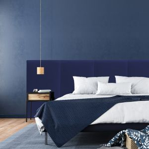 Navy Velvet Wide Panelled Upholstered Bedhead | All Sizes | Custom Made by Martini Furniture