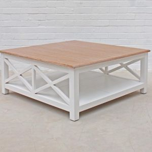 New Hamptons Coffee Table | White / Weathered Oak Top