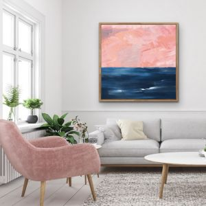 New Horizons | Abstract Pink Blue Coastal Canvas Print