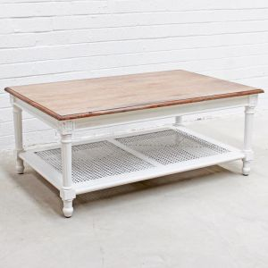 New Marseille Coffee Table | White / Weathered Oak Top