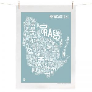 Newcastle Map | Tea Towel by Burbia