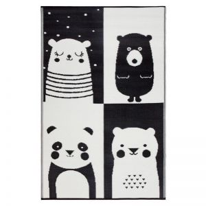 Nika Bear | Black & White | Indoor Outdoor Kids Rug | Various Sizes