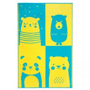 Nika Bear | Blue & Yellow | Indoor Outdoor Kids Rug | Various Sizes