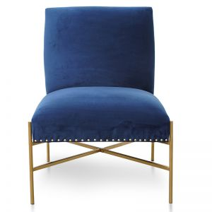 Nikon Lounge Chair In Blue Velvet Seat | Brushed Gold Base