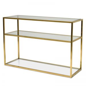 Noel 1.2m Glass Console Table | Gold Base | Interior Secrets