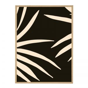 Noir Palm | Flat Natural Frame | Front View