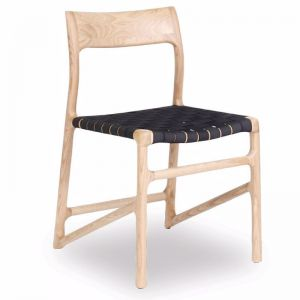 Nora Scandi Dining Chair | Black American Ash with Black Netted Seat