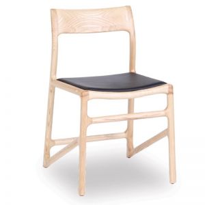 Nora Scandi Timber Dining Chair | Natural American Ash w Black Pad